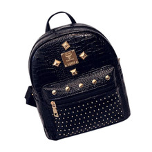 Women Leather Backpack rivet women backpacks korean style travel school backpack for women Mochila feminina#LREO(China)