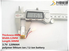 Free shipping Bluetooth headset Bluetooth cell battery 401030 401230 3.7V lithium polymer battery Battery MP3 Wholesale