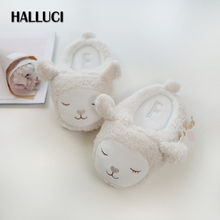 HALLUCI Kawaii sheep knitting home slippers shoes women Winter white warm cute indoor rubber slippers timber floor mulher(China)