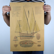 "Classic ""Tower Boat Ship models "" poster Vintage retro Kraft Paper Wall Art Crafts Sticker Living Room Paint Bar P-029 51x35cm"