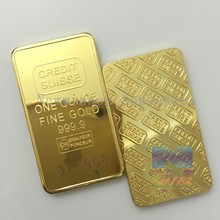 25 PCS/Set 1 Troy OZ Switzerland Credit Suisse no copy gold bullion bar with laser serial number free shipping