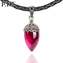 EDI 925 Sterling Silver & Marcasite Fine Jewelry Pink Natural Ruby Black Choker Necklace for Women Antique Thai Silver(China)
