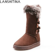2017 Australia Classic Women Snow Boots Short Leather Winter Shoes Mid-Calf Warm Boots Faux Fur Outside Flat Woman Mujer Zapatos(China)