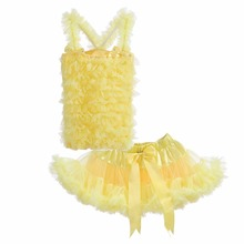 Cutestyles 2017 Newest Yellow Girls Tutu Ballet Dresses With Bow Lace Petti Summer Wear For Children Baby Clothes TC21219-06