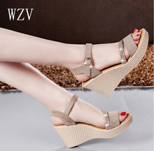 WZV Hot sale 2017 Women Sandals summer diamond casual fashion fish mouth shoes wedge sandals women shoes free shipping M636