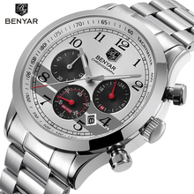 Buy BENYAR Stainless Steel Waterproof Chronograph Watches Quartz Military Men Watch Top Brand Luxury Male Sport Clock reloj hombre for $24.99 in AliExpress store