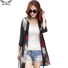 2017high quality Summer Kimono Cardigan shawl Women Shirts plus size Chiffon blouse Shirts Beach Sunscreen Clothing Printed tops