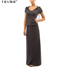 Long Pattern Tshirt Dresses Women Short Sleeve Hooded Tunic Cotton Maxi Dress Woman 2016 Spring Floor-Length Dress QWC0098-4(China)