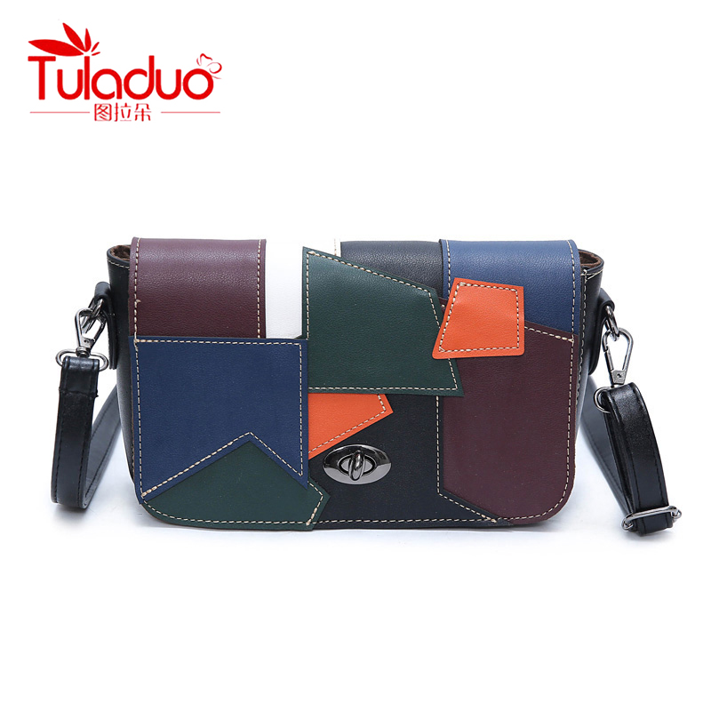 TULADUO 2017 Hot Selling High Quality PU Leather Luxury Handbags Women Bags Designer Patchwork Color Type Crossbody Shoulder Bag<br>