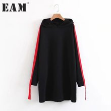[EAM] 2017 new autumn winter hooded long sleeve red split joint solid color black big size sweatshirt women fashion tide JD3630(China)