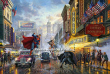 Thomas Kinkade Oil Paintings  Superman Giclee Canvas Wall Picture Art Framed Cuadros Spray Posters and Prints