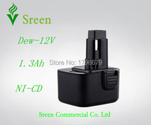 12V 1300mAh NI-CD Rechargeable Power Tool Battery Packs Replacement for Dewalt DW9071 DW9072 DE9074 DW9072 DE9075 DE9037 DW9071