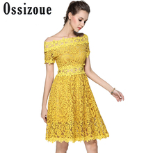 Ossizoue Elegant Lady Slash Neck Lace Dress Solid Yellow Woman Summer Knee Length A-Line Dress Runway High Quality Csusl Dresses(China)