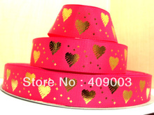(5yds per roll) 10Y532 kerryribbon free shipping 1 '' love gold hotpink happy valentine ribbon Grosgrain ribbon(China)
