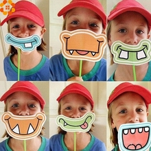 6PCS/Set Party Favors Funny Mustache Paper Photo Booth Props For Kids Birthday Party Decoration Photobooth Props Kids Toys(China)