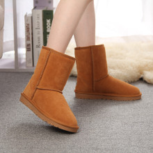MBR Classic waterproof genuine cowhide leather snow boots 100% Wool Women Boots Warm winter shoes for women large size 34-44(China)