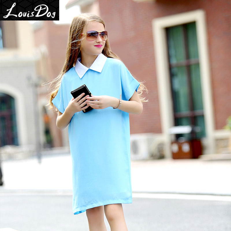 LouisDog Teenagers Chiffon Dress Girls Designer Solid Color Dress Kids European American Style Casual dresses 13 14 15 16 Years<br><br>Aliexpress