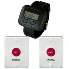 SINGCALL.Wireless Bathroom Calling System,remote call buttons for restaurant,hotel paging system1 watch receiver, 2 buttons(China)