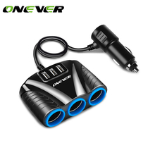 12V/24V 120W 3 Way Auto Sockets Car Cigarette Lighter Adapter Lighter Splitter Lighter 5V 3.1A Output Power 3 USB Car Charger(China)