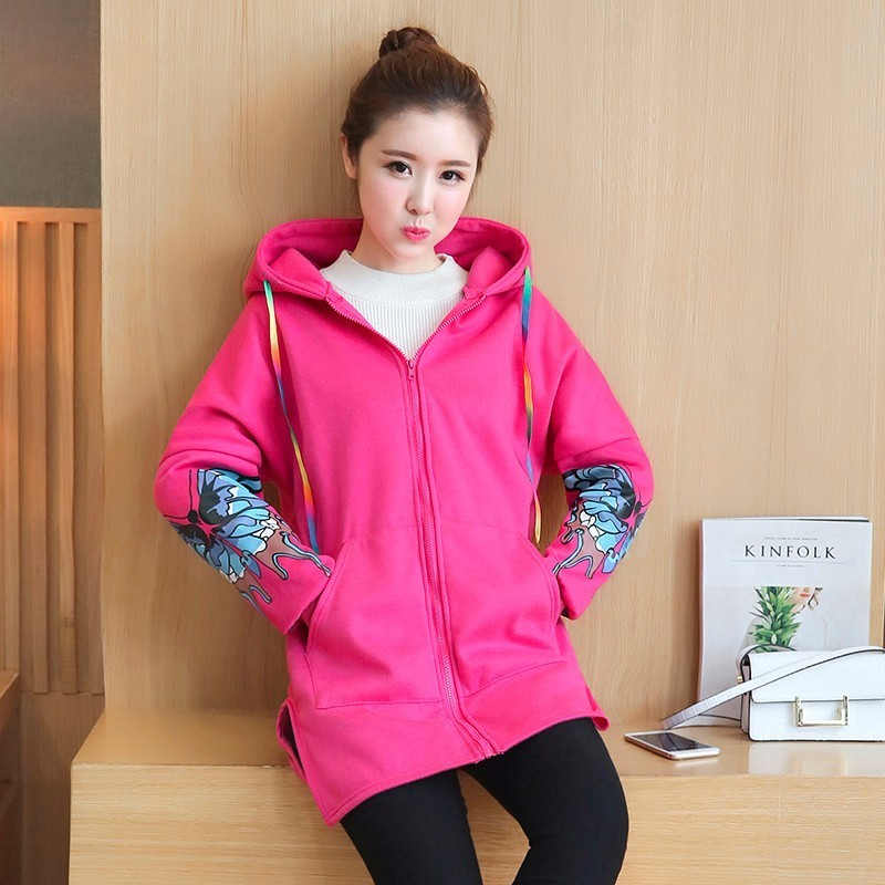 Fashion Style Maternity Coat Butterfly Pattern Pregnant Woman With Hat Loose Coat Sweater Black Rose Red Full Sleeve<br>