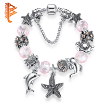 New Lovely Gift Pink Murano Glass Dolphin Starfish Beads Bracelet Fit Original 925 Silver Charm Bracelets Jewelry For Women Girl(China)