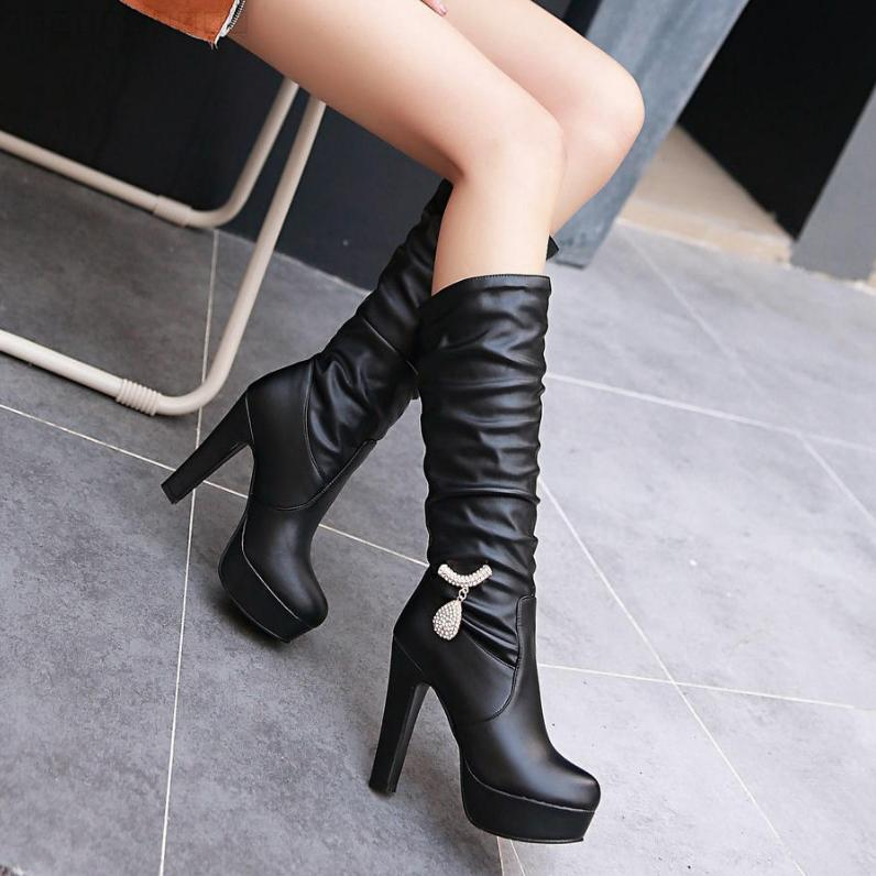 VAMOLASC New Women Autumn Winter Leather Mid Calf Boots Warm Crystal Square High Heel Boots Platform Women Shoes Plus Size 34-43<br><br>Aliexpress