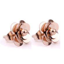 Fashion Women Earrings 316LStainless Steel Rose Gold Flower Stud Earrings(China)