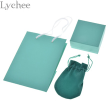 Lychee 3 pieces/set DIY Jewelry Packaging Set Blue Paper Handbag Gift Box Carrying Case Blue Velvet Pouches for Jewelry