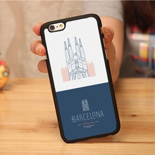 spain barcelona city Printed Soft Rubber Skin Mobile Phone Cases OEM For iPhone 6 6S Plus 7 7 Plus 5 5S 5C SE 4S Back Cover