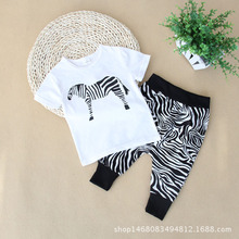 Baby Boy Clothes Summer Newborn Baby Boys Clothes Set Cotton Baby Clothing Suit (Shirt+Pants) Zebra pattern Infant Clothes Set