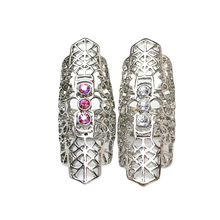 Rings Size 18mm Silver Plated Crystal Long Rings Hallow Flower Party Mid Finger Ring For Ladies Anies Women Rings Jewelry