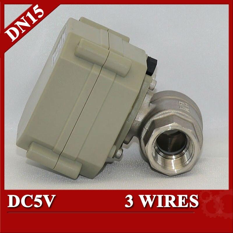 1/2 electrical ball valve stainless steel valve  NPT/BSP screw, DC5V 3 wires motorized valve<br><br>Aliexpress