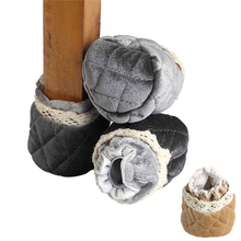 Sunligoo 4 pcs Knitting Chair Socks Table Furniture Feet Socks Anti-slip Anti-scratch Protective Feet Sleeve With Vintage Lace(China)