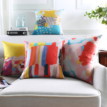 Colorful Oil Painting Cushion Covers Abstract Patterns Pillow Covers Good Quality Linen Cotton Bedroom Sofa Decoration Gift