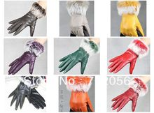 fashion Women rabbit fur fringed Genuine leather gloves skin gloves LEATHER GLOVES  mixed color 12pairs/lot #3120