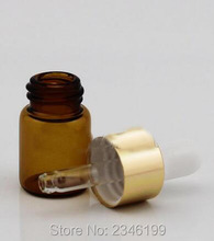 2ML 3ML Brown Color Glass Oil Bottle, With Gold Circle Plastic Head Dropper, Glass Purfume Packing Vials, 100pcs/lot