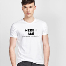 I am here to express white cotton T-shirt Men's 2017 men's fashion T-shirt brand classic soft cotton T-shirts and tops(China)