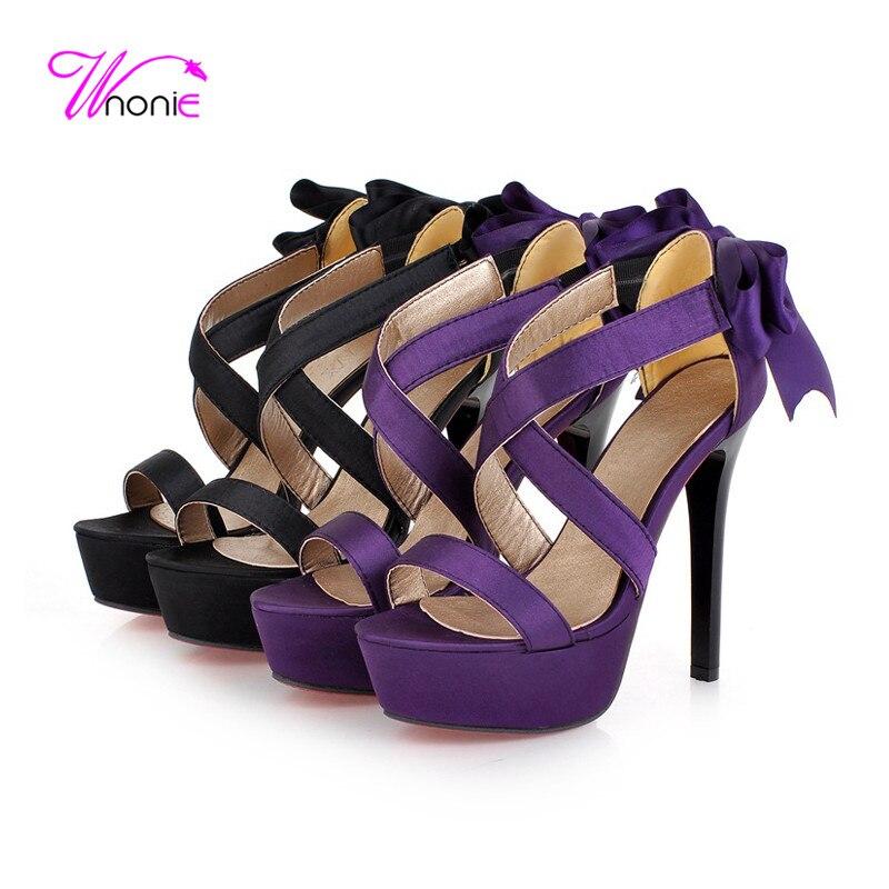 2017 New Fashion Women Cross-strap Sandals High Heel Platform PU Butterfly-knot Bowtie Party Dress Casual Cool Summer Woman Shoe<br><br>Aliexpress