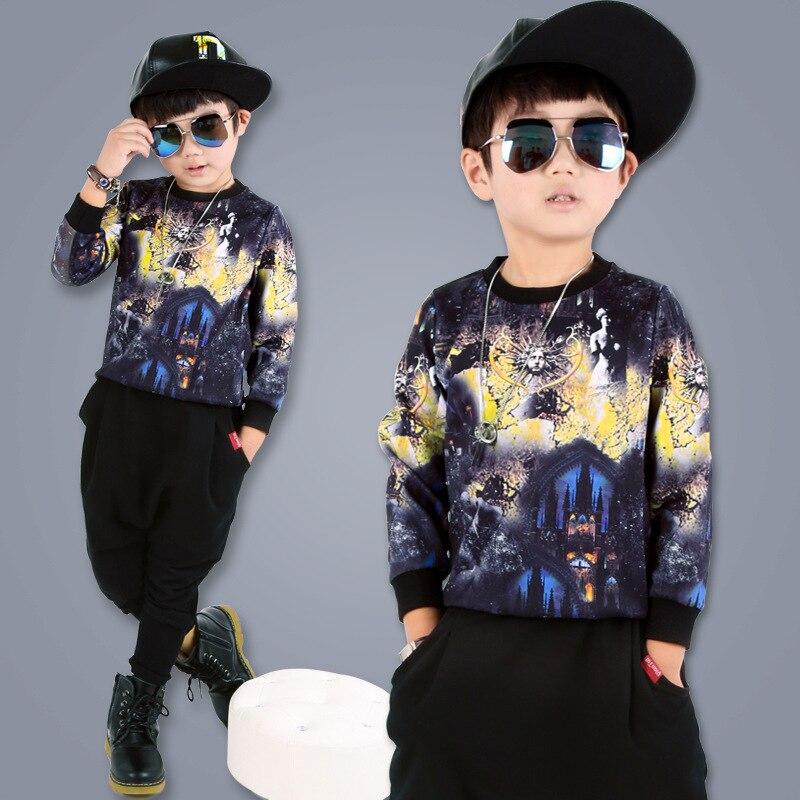 kids hip hop clothing 2017 new fall/spring long sleeve printing fashion cotton t-shirt tops harem pants 2pcs kits Korean style <br><br>Aliexpress