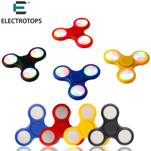 E T 100pcs/Lot LED Flash Light EDC Hand Spinner Tri-Spinner Anti Reduce Stress Toy With Switch ADD ADHD Autism Boring Annoying