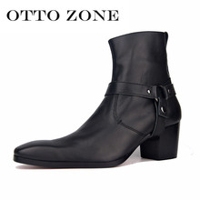High Heel Boots For Men Handmade Genuine Leather Brand Martin Boot Classic Retro Shoes Man Designer Wedding Shoes 8709(China)