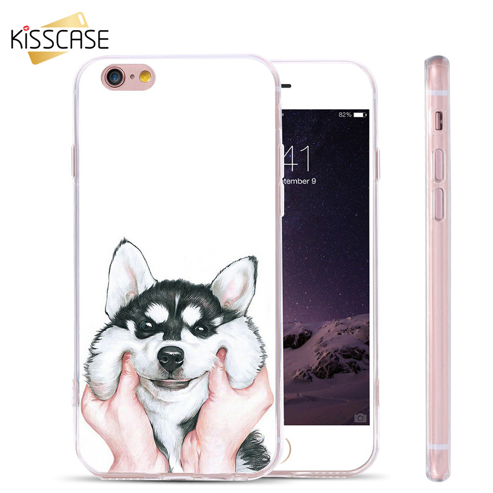 KISSCASE 3D Painted Cute Husky Case For iPhone 7 6 6s Plus 5s SE For Samsung Galaxy S7 S6 Edge Shells Lovely Animal Phone Case(China)