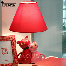 IMINOVO Cute Cat Desk Lamp LED E27 Bulb Novelty Home Decoration Cartoon Table lamps Bedside Lighting For Reading Children Kids