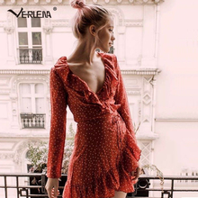 Verlena 2017 Sexy Vintage Dress Wrapped Sash Plunge Front Summer Dress Women Classic Star Printed Dresses with Ruffle Frill Hem