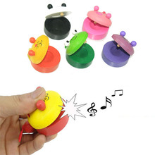 Mini Baby Castanet Wooden Toy Nusic Instrumental Toys Kids Child Early Learning Educational Toddler Lovely Animal New(China)
