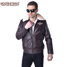 MAPLESTEED Genuine Leather Jacket Men Pilot Jacket Flight Aviator Coat 100% Cowhide Fur Collar Mens Leather Jacket Winter 177(China)