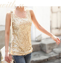 Sexy Womens Shining Vest Bling Sequin Tank Top Sleeveless Bottoming Lace T Shirt(China)