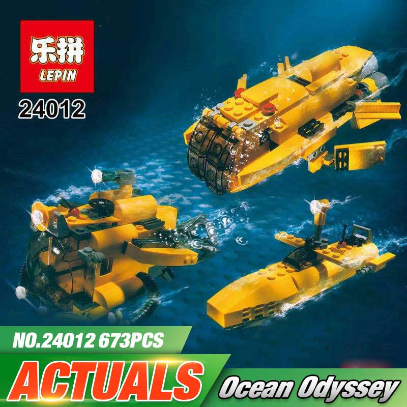 Lepin 24012 673Pcs Underwater Explora Ship LegoINGly Technic 4888 Model Plate Sets Swat Building Nano Blocks DIY Bricks Toys<br>