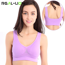 RealLion Bra Sport Tops Elastic Vest Female Full Cup Running Gym for Women Clothes Fitness Dance Wear