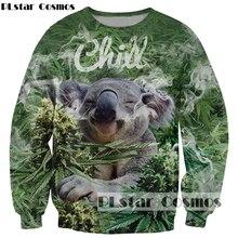 PLstar Cosmos 2017 Newest Fashion 3D sweatshirt Cute animal Koala Weeds print Women Men Hoodies casual Pullovers Drop shipping